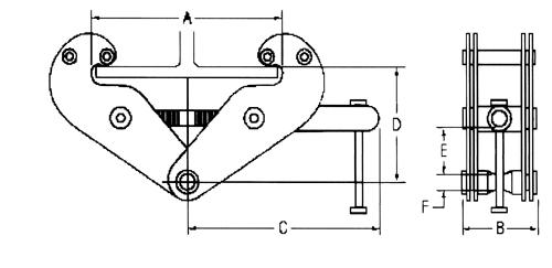 "3230 CM Series 632 Trolley 3 Ton Flange 6 1//4/"" 4/"""